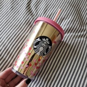STARBUCKS Mirrored Pink Red Hearts Drink Cup